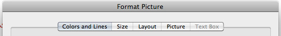 Format picture top menu in Word