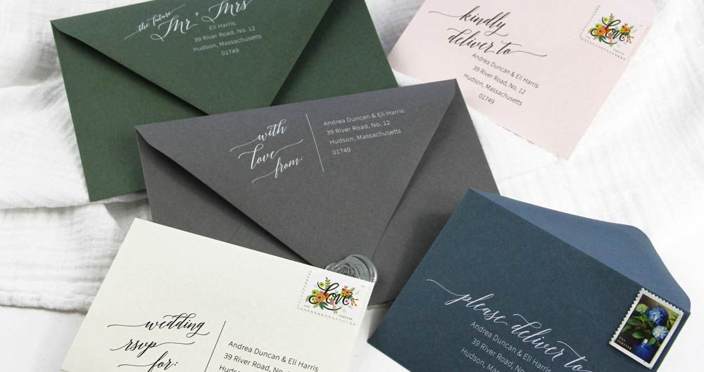 Free wedding return address templates. 5 calligraphy designs to print on response envelopes or invitation envelopes. Easy to customize in Word.