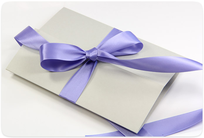Image result for purple ribbon to fasten envelopes
