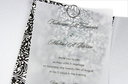 Silver, black, and white gate fold wedding invitation with clear vellum overlay