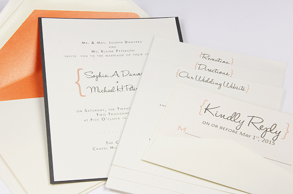 Orange And Cream Invitation With Double Envelopes