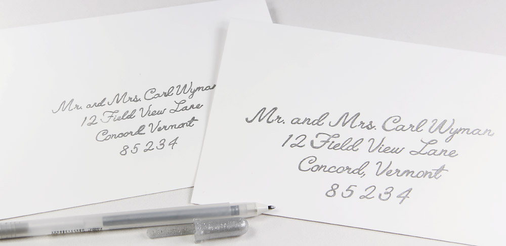Cotton envelopes hand written with silver gelly roll pen