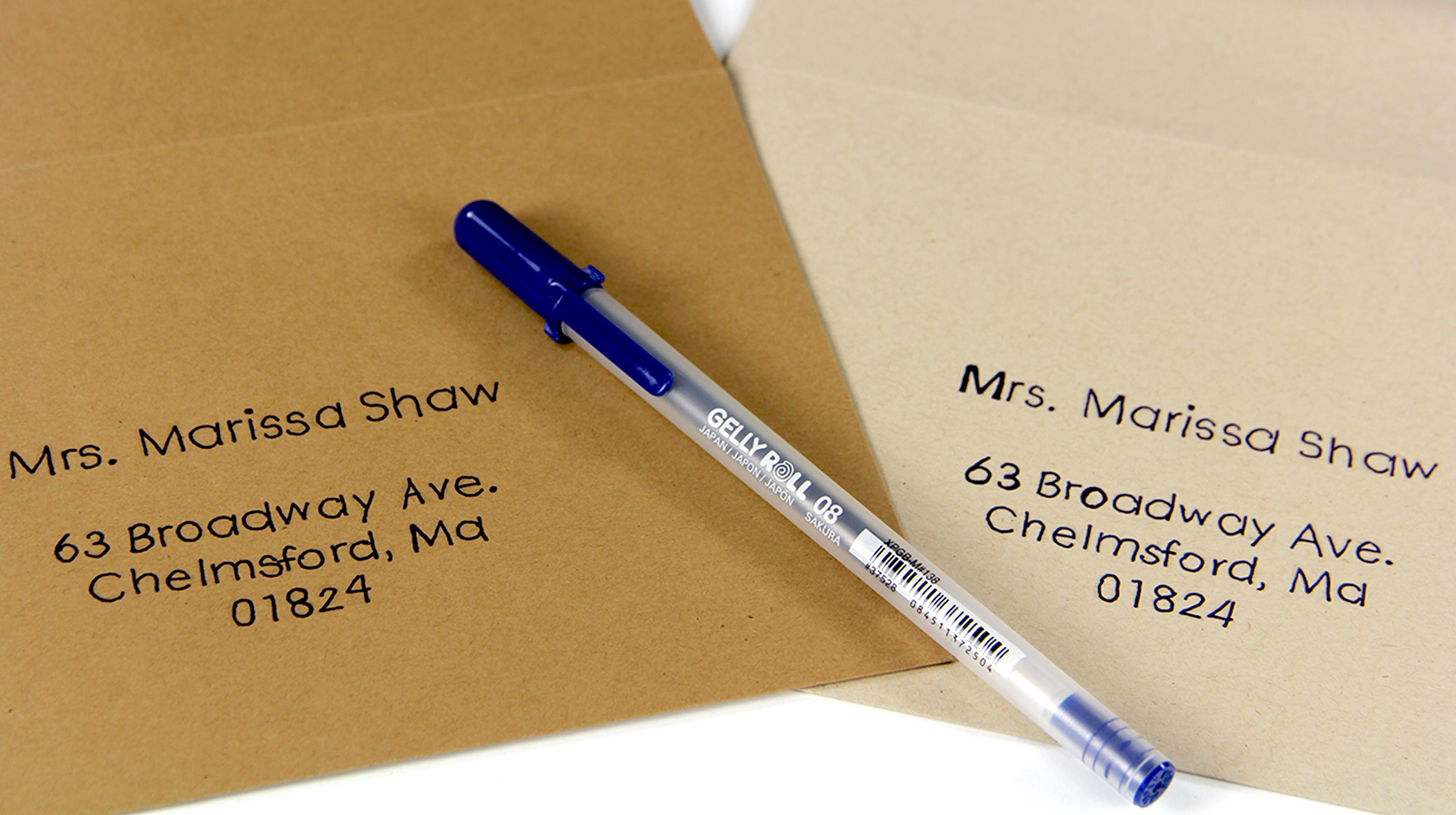 Neenah Environment Kraft Paper Envelopes Hand Written With Gel Pen