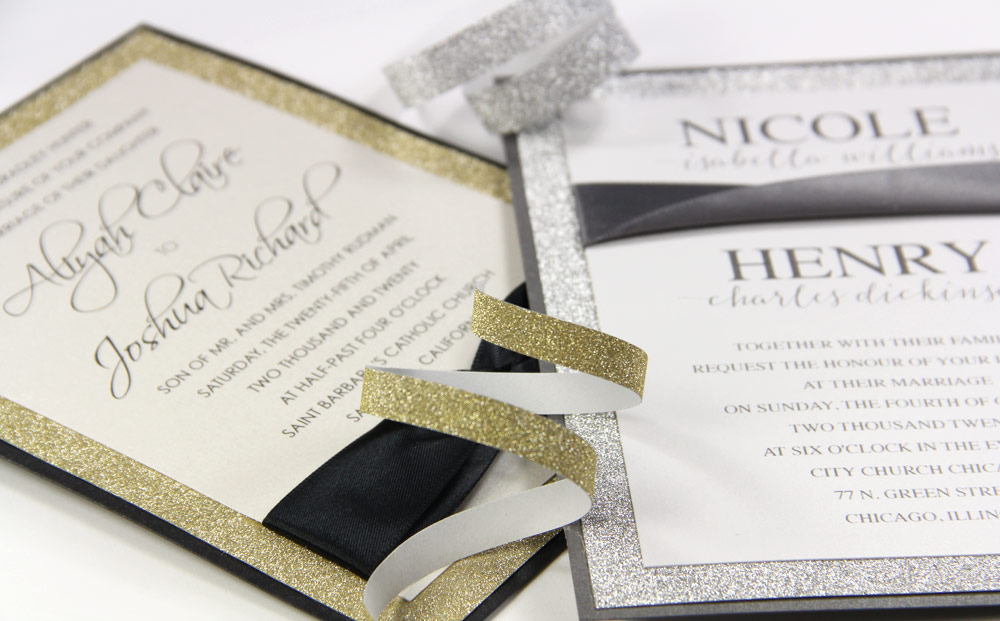 Glitter wedding invitations made with with MirriSPAKLE glitter paper layer