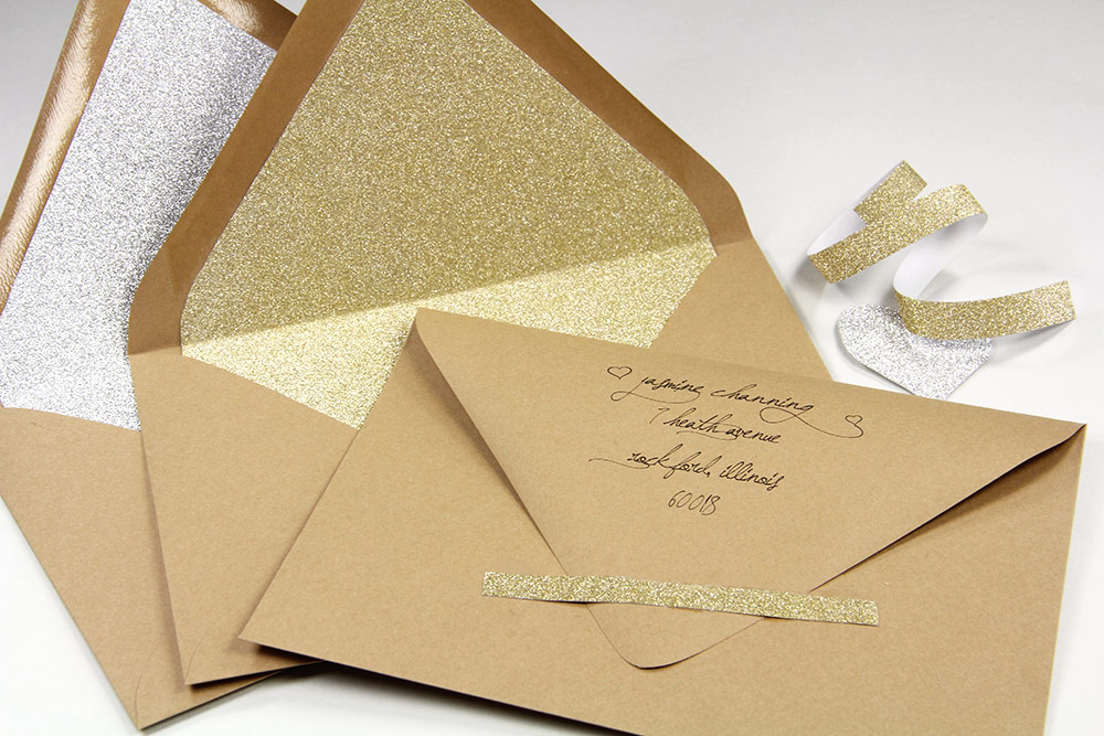Euro flap kraft envelopes lined with silver and gold MirriSPARKLE glitter paper