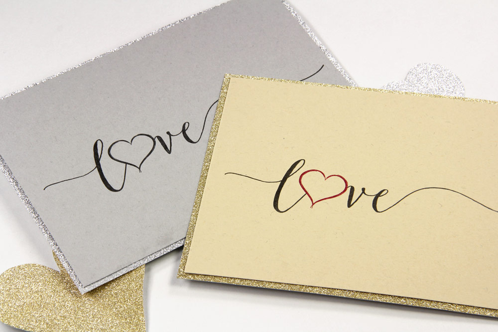 Love text print on Gmund Heidi letterpress paper with MirriSPARKLE glitter paper matt