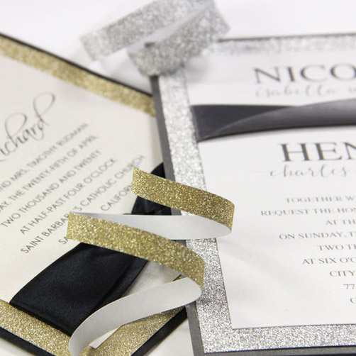 Hand made glitter layered invitations. Get creative invitation ideas from LCI Paper