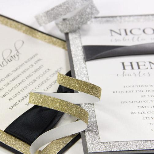 Hand made glitter layered invitations. Get creative invitation ideas from LCI Paper