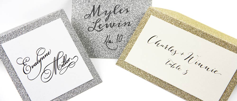 Silver and gold glitter place cards for layering or hand written calligraphy
