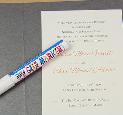 pocket invitation glued with glue marker