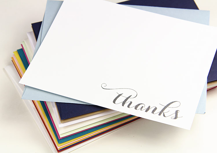 Free printable thank you card printed on felt paper