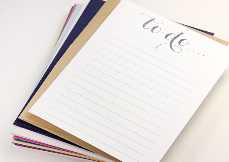 Free printable to do list printed on colored matt card stock