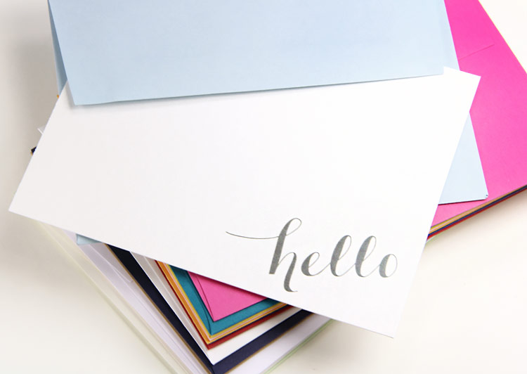 Free printable hello note card printed on gmund colors metallic