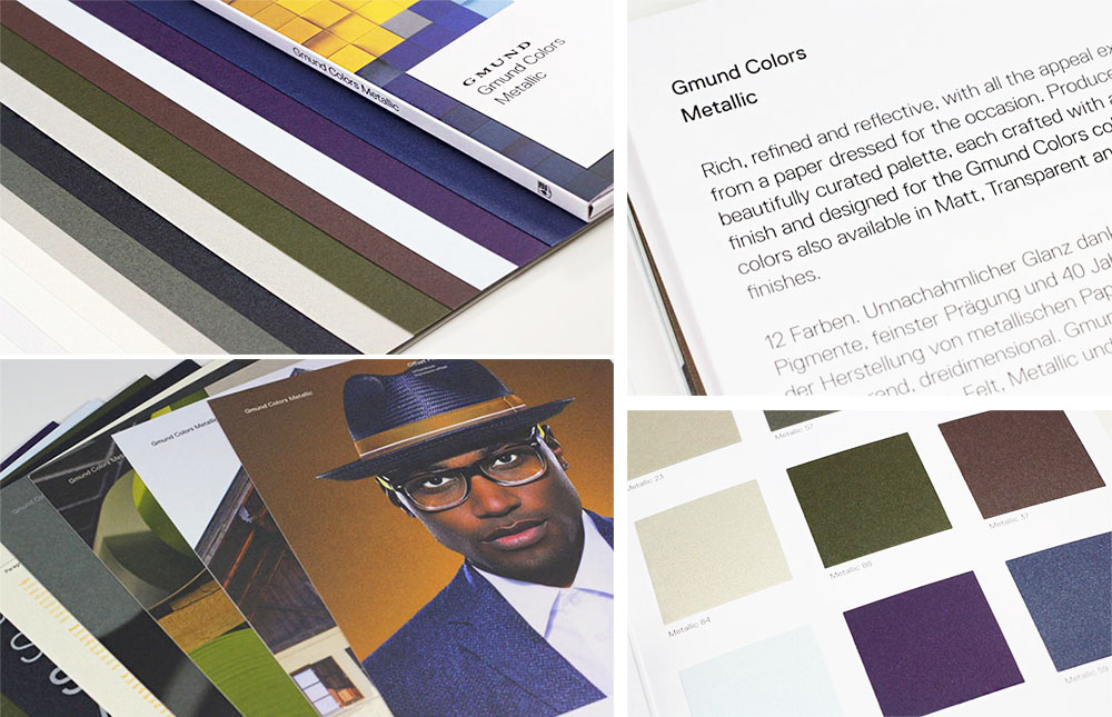 Gmund Color System Metallic finish paper in 9 colors