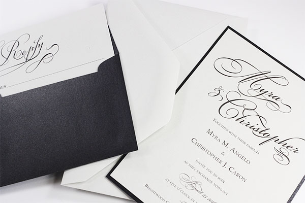 Gmund Cotton Wedding Invitations and Envelope in Max White. Have us print or order a sample to test before purchase.