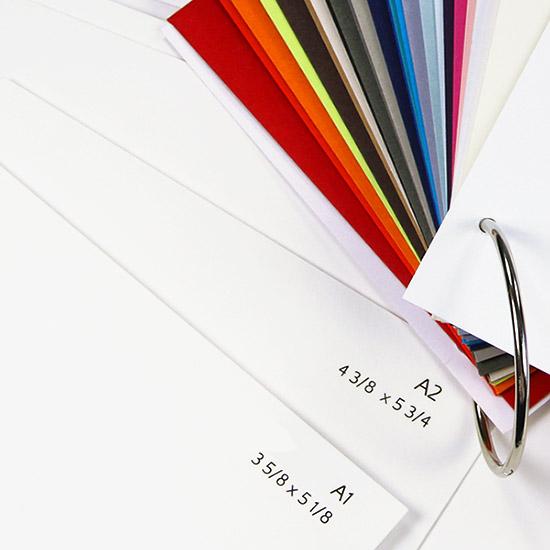 Gmund Color System envelope swatch book includes size samples