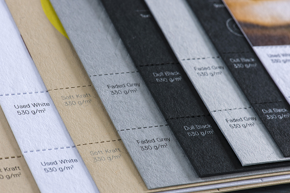 Gmund Heidi Card Stock Papers Designed For Letterpress: Used White, Soft Kraft, Dull Black & Faded Grey