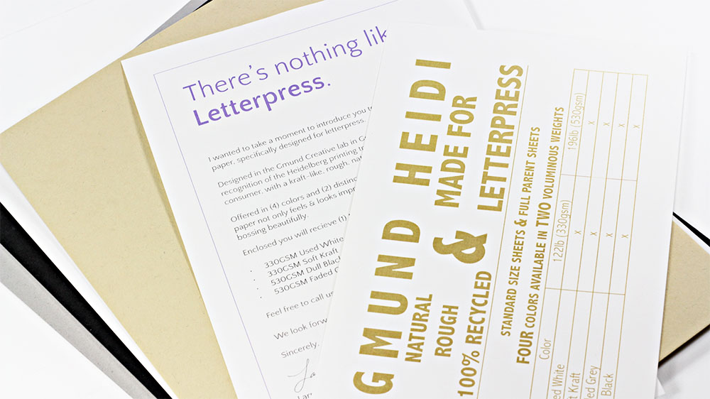 Gmund Heidi Sample Kit from LCI Paper. 100% recycled paper designed for letterpress.