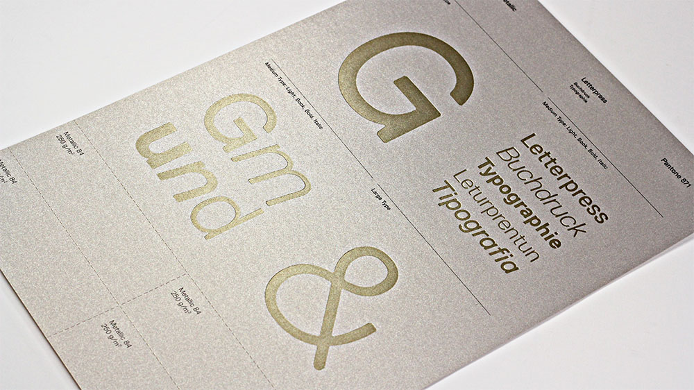 Gmund Colors Metallic reveals a beautiful, elegant impression when letterpressed.