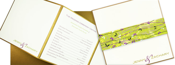 Gold and cream square layered tri-fold program