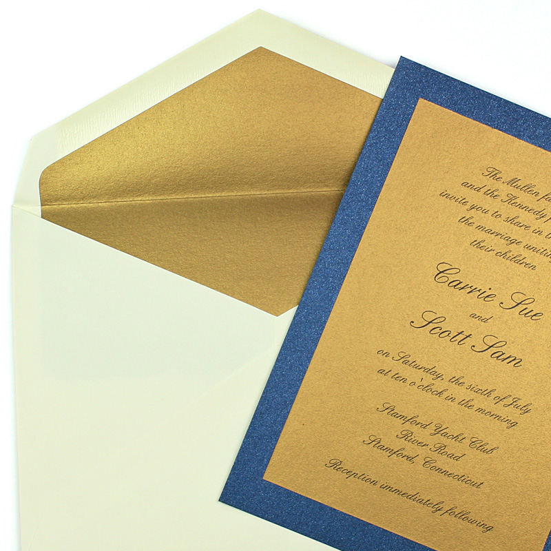 Stardream Gold Lined Envelope With Lapis Lazuli Layered Invitation