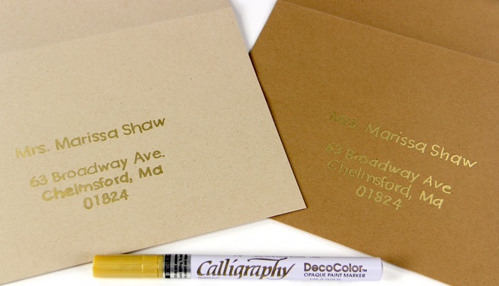 Kraft Envelopes Hand Written Address Using Gold Metallic Marker From LCI Paper