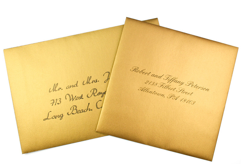 Hand Addressed & Printed Gold Metallic Envelope