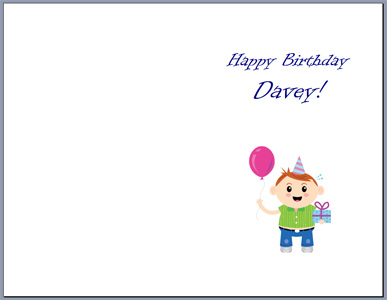 Half Fold Birthday Greeting Card Word Template