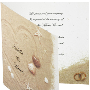 Hearts in Sand Beach Wedding Invitation