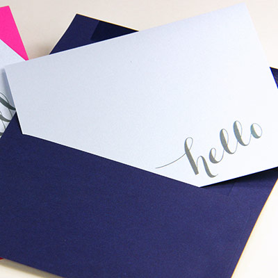 Hello calligraphy free printable note card on Gmund Colors Metallic sky blue 62
