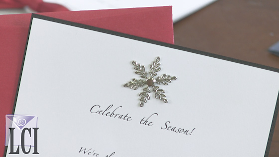 holiday invitation with snowflake brad