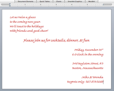 formatted Word document with holiday invitation wording
