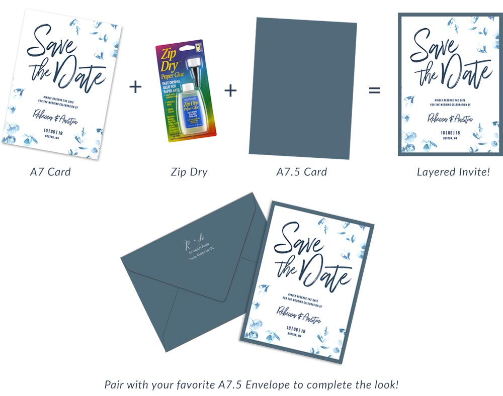 How to make layered 5x7 invites. Order cards and envelopes blank or printed.
