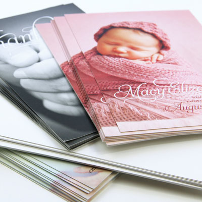 Cards printed on digital card stock