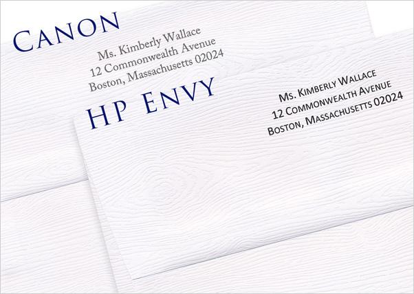 inkjet printer results on wood grain envelopes