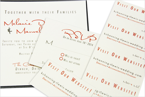 wedding website insert card