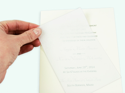 Ecru wedding invitation card with tissue paper