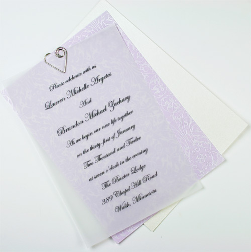 invitation with filigree pattern pearlized paper decorative layer