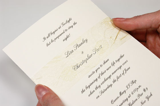 invitation embellished with decorative tissue band