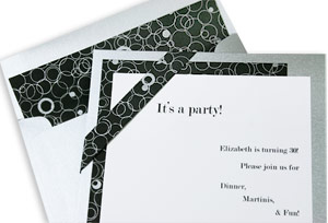 invitation with three strips of pearlized paper