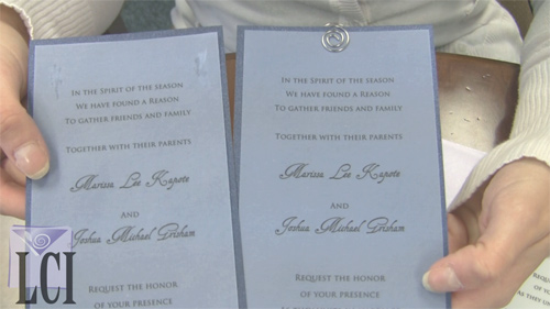 layered invitations secured with glue or spiral clips