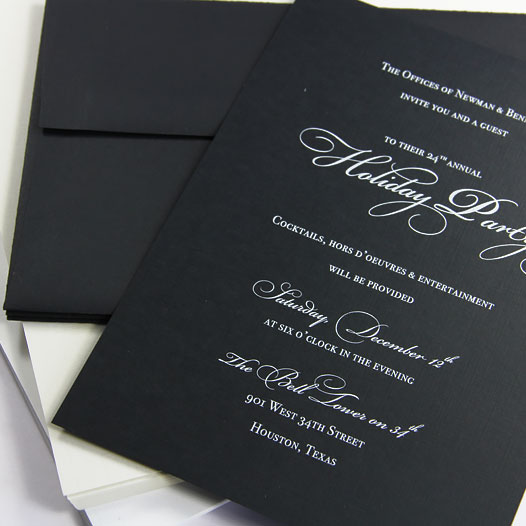 Invitation printed in white on black linen