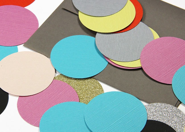 Circles punched from Japanese Linen card stock