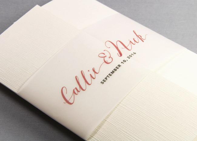Ivory linen gate fold invitation