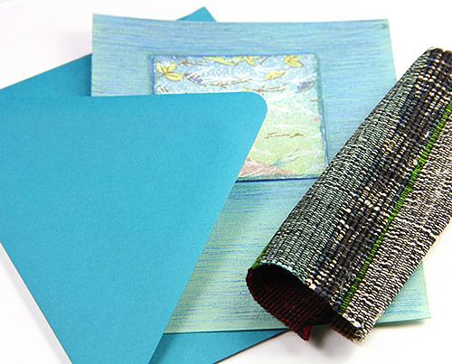 Handmade Japanese linen greeting cards inspired by Japanese weaving