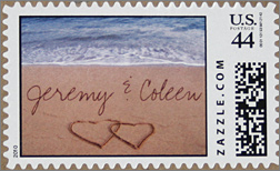 Jeremy & Coleen beach wedding stamp