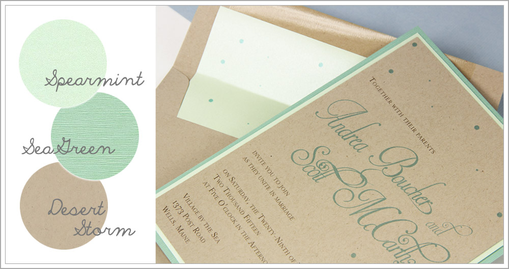 Kraft and lucite green confetti layered wedding invitation
