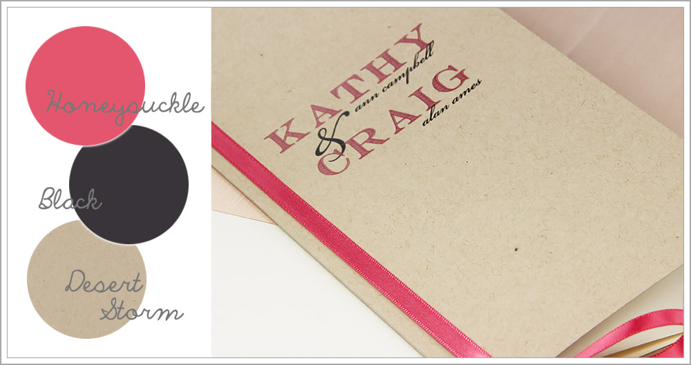Make your own slim pink, black, and kraft wedding program with ribbon