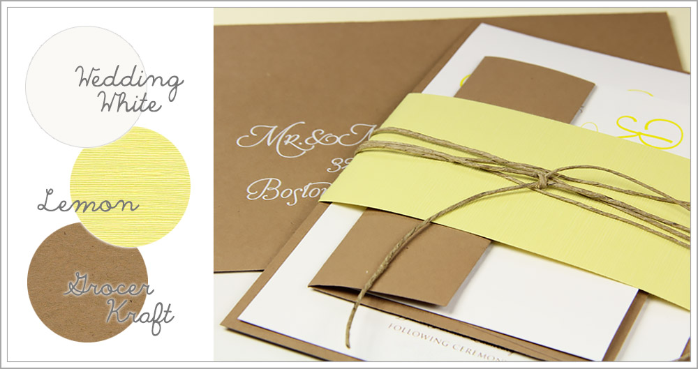 Banded wedding invitation made with recycled grocer kraft brown bag paper, yellow linen, and twine