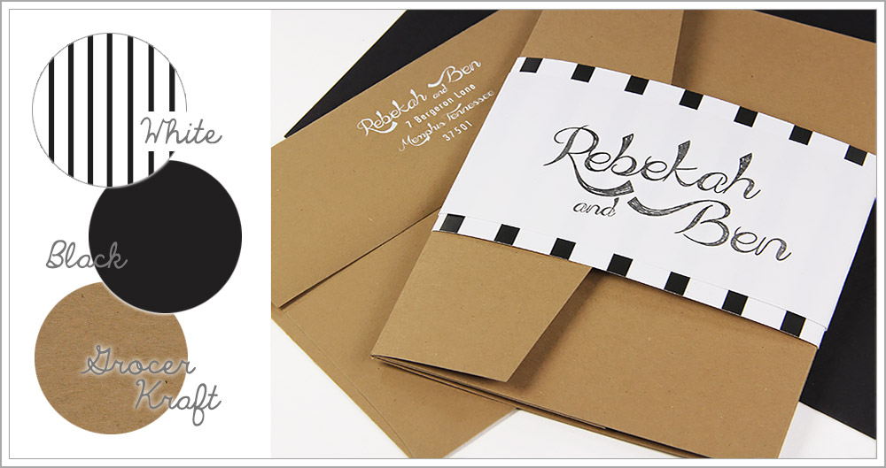 Kraft brown pocket invitation wrapped in black and white striped invitation band